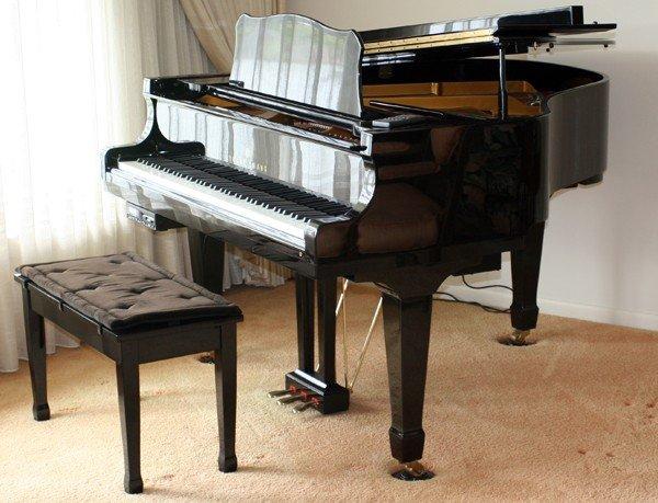 """070014: YOUNG CHANG BLACK EBONY BABY GRAND PIANO, H 39"""""""