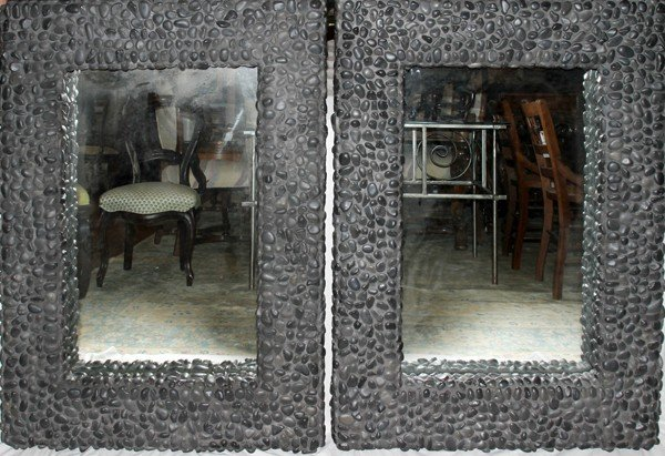 070016: STONE & MORTAR FRAMED WALL MIRRORS, LATE 20TH C