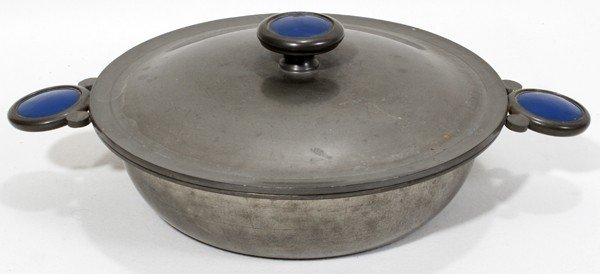 071003: REBECCA CAUMAN PEWTER & ENAMEL COVERED DISH,