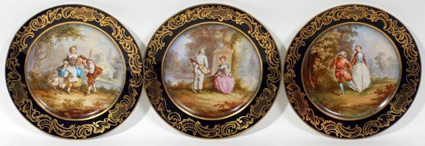 071020: HAND PAINTED PORCELAIN CABINET PLATES, THREE,