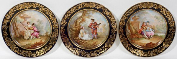 071021: HAND PAINTED PORCELAIN CABINET PLATES, THREE,