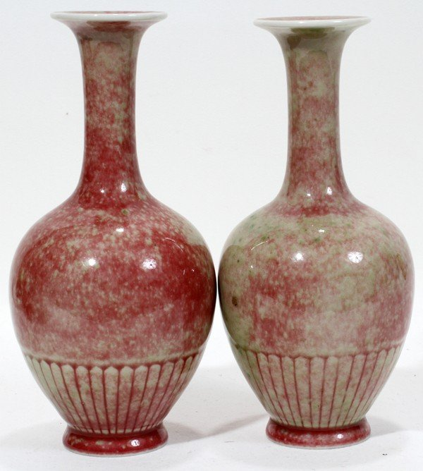 071074: CHINESE PEACH BLOOM PORCELAIN VASES, PAIR, H 8""