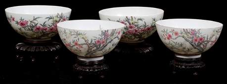 071076: CHINESE EGGSHELL PORCELAIN BOWLS, 18TH C, FOUR,