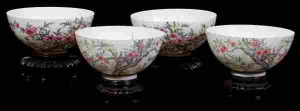 CHINESE EGGSHELL PORCELAIN BOWLS, 18TH C, FOUR,