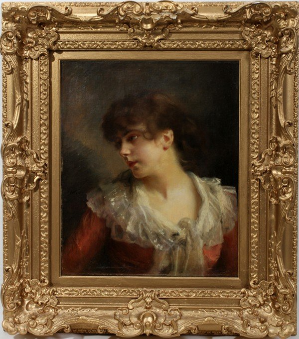 """072015: GUSTAVE JEAN JACQUET, OIL ON CANVAS, 1880, 22"""""""