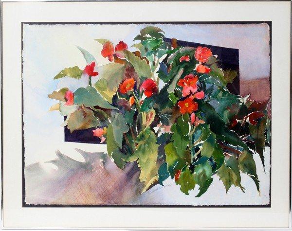 """072017: TAMARA ESSNER, WATERCOLOR 22"""" X 30 1/2"""" FLOWERS"""