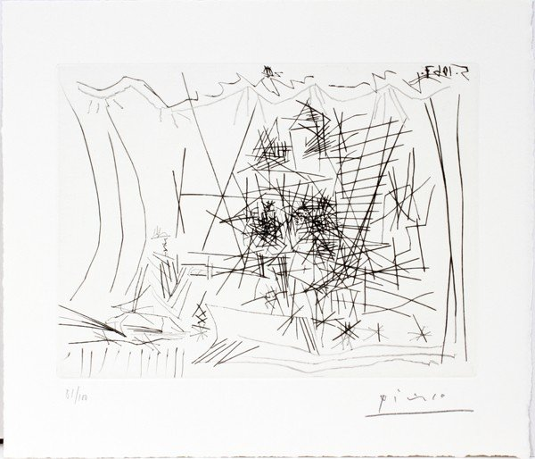"""072022: PABLO PICASSO, ETCHING, 10-5-'67, """"PICASSO"""