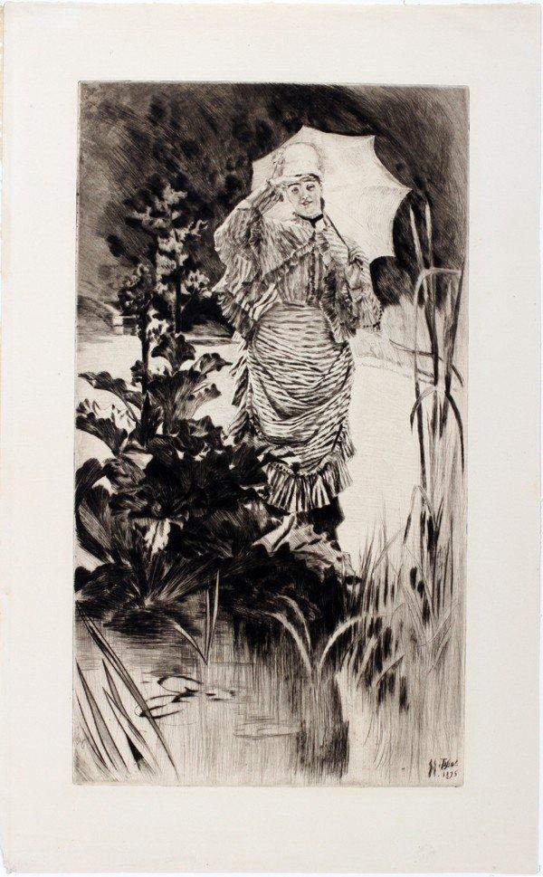 "072023: JAMES TISSOT, DRYPOINT, 1875, 19 3/4"" X 10 7/8"""