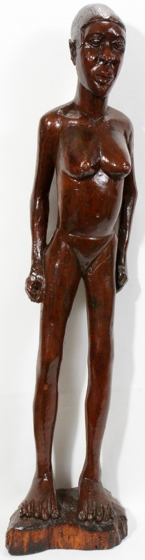 072419: AFRICAN CARVED WOOD NUDE SCULPTURE H 49""