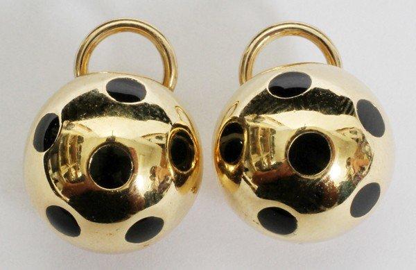 080006: 18KT GOLD HALF BALL ENAMEL DECO STYLE EARRINGS