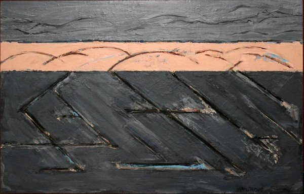 080009: DAVID ARMSTRONG OIL ON CANVAS ON BOARD, C. 1989