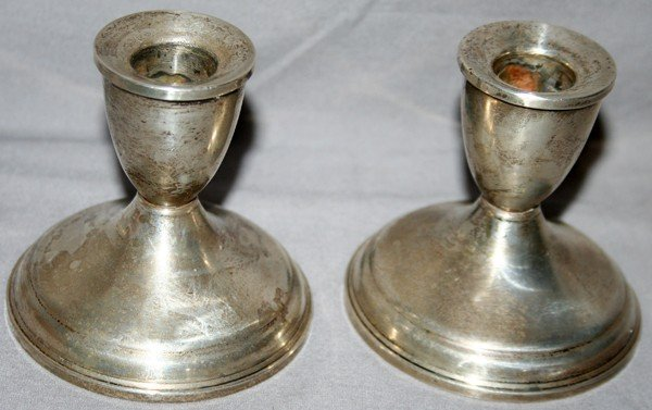080018: AMERICAN ANTIQUE, STERLING SILVER CANDLESTICKS,