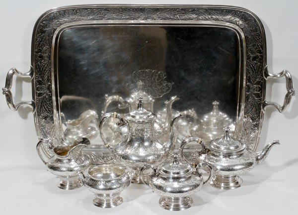 081009: GORHAM STERLING COFFEE & TEA SET WITH TRAY,