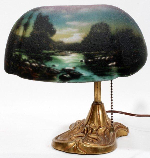 "081019: PITTSBURGH REVERSE PAINTED DESK LAMP, H 10"","