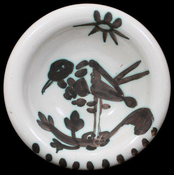 "081022: PABLO PICASSO (1881-1973) BIRD DISH, DIA 6"""