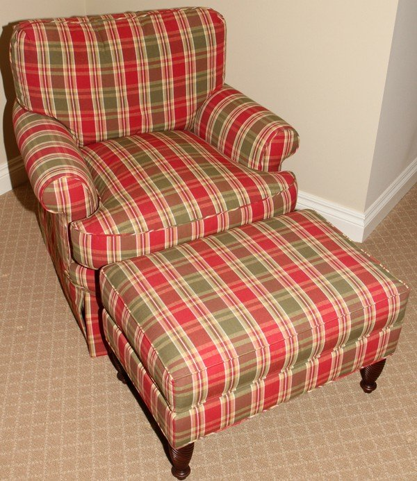 PLAID UPHOLSTERED LOUNGE CHAIR & OTTOMAN