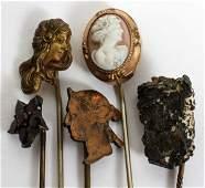 ANTIQUE GOLD, CAMEO & GARNET STICKS PINS, FIVE