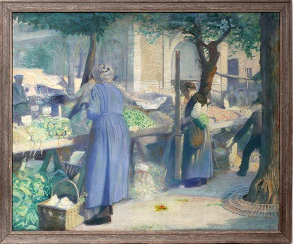 """082007: FRENCH OIL ON CANVAS C. 1920, 32"""" X 39"""", MARKET"""