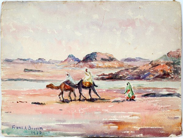 082011: FRANK A. BROWN, WATERCOLOR ON PAPER, 1936,