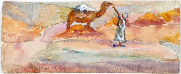 """082012: FRANK A. BROWN WATERCOLOR ON PAPER 1929, 4 1/2"""""""