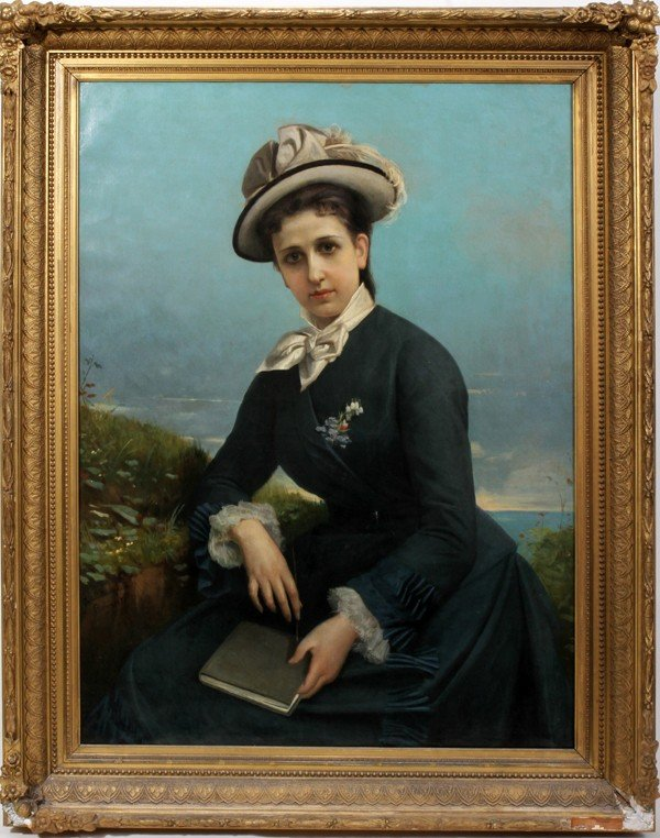 "082017: GUSTAVO MANCINELLI, OIL ON CANVAS, 1877, 40"" X"