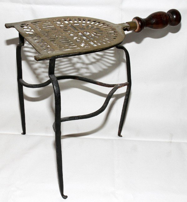"""082259: ANTIQUE BRASS TRIVET WITH IRON STAND, H 11"""","""