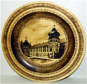 080270 BRASS INLAID  PAINTED WOOD DECORATION PLATE