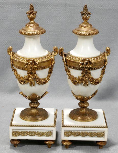 080021: FRENCH GOLD BRONZE MARBLE URNS