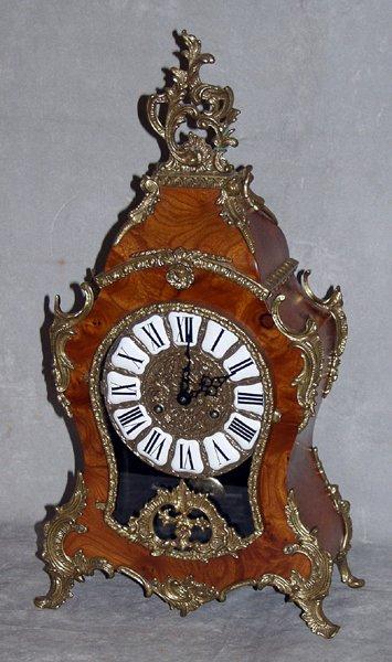 080016: GERMAN LOUIS XIV STYLE BURLED WALNUT CLOCK