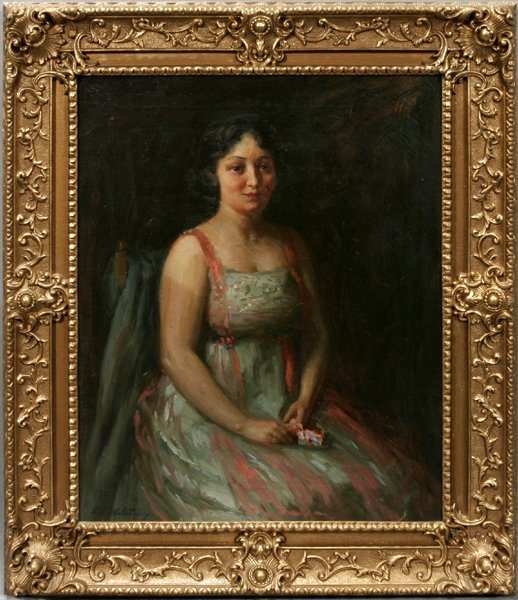 082001: CHARLES WALTENSPERGER, OIL ON CANVAS, LADY