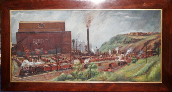 082012: TERENCE T. CUNEO, OIL ON CANVAS, TRAIN YARD