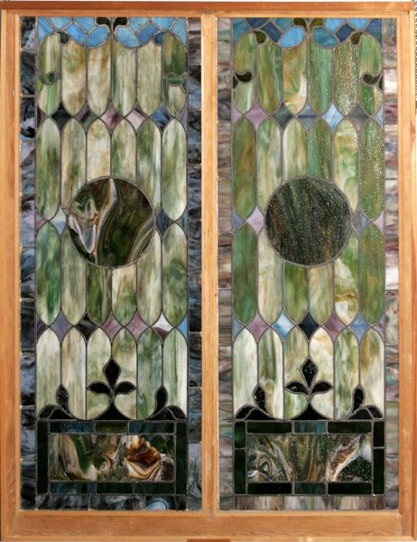 082017: STAINED GLASS WINDOWS MOUNTED IN FRAME