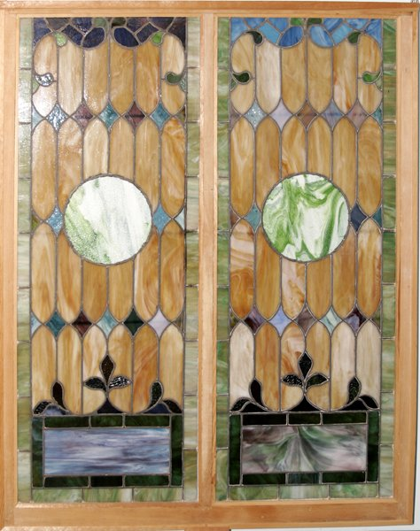 082018: STAINED GLASS WINDOWS MOUNTED IN FRAME