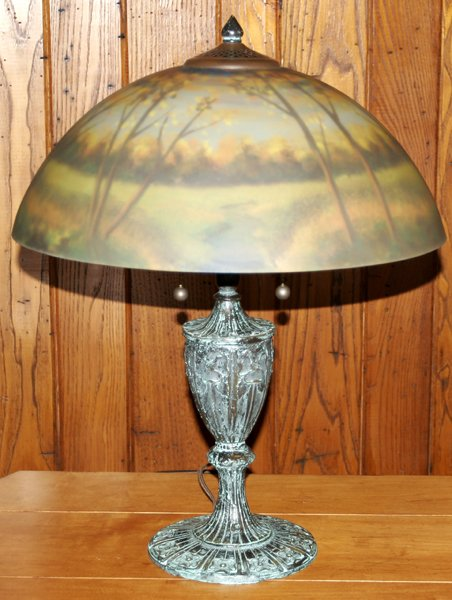 082024: REVERSE PAINTED GLASS TABLE LAMP