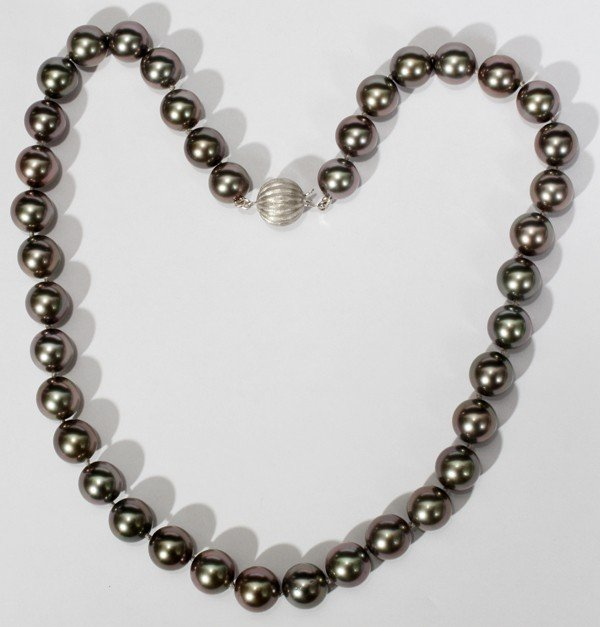 090005: TAHITIAN BLACK LIPPED OYSTER PEARL NECKLACE