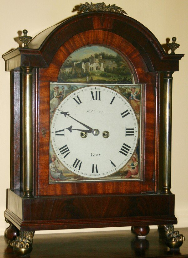 090017: ENGLISH MAHOGANY MANTLE CLOCK, BY W. TRYER