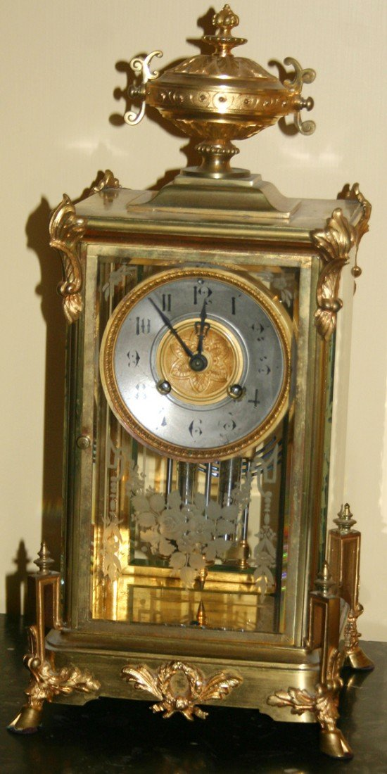 090018: JAPY FRERES & CO. BRASS, BRONZE MANTLE CLOCK