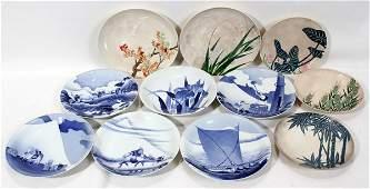 090448: JAPANESE ARITA BOWLS (6) & SATSUMA STYLE PLATES