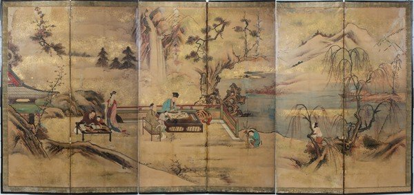 091001: JAPANESE PAINTED PAPER SIX-PANEL SCREEN, SIGNED