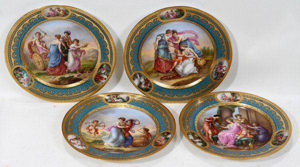 091005: ROYAL VIENNA PLATES, SIGNED, SET OF FOUR