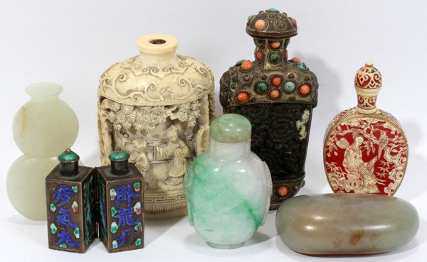 091427: CHINESE ENAMELED METAL, STONE & SNUFF BOTTLES