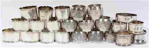 091467: STERLING & SILVERPLATE NAPKIN RINGS (24)