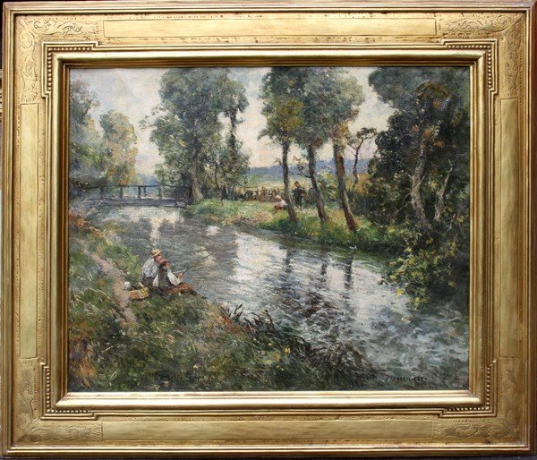 092002: FREDERIC EDE OIL ON CANVAS FIGURES FISHING