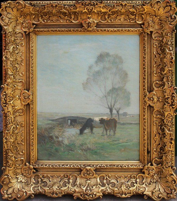 "092003: HORATIO WALKER OIL ON CANVAS, 16"" X 13"", CATTLE"
