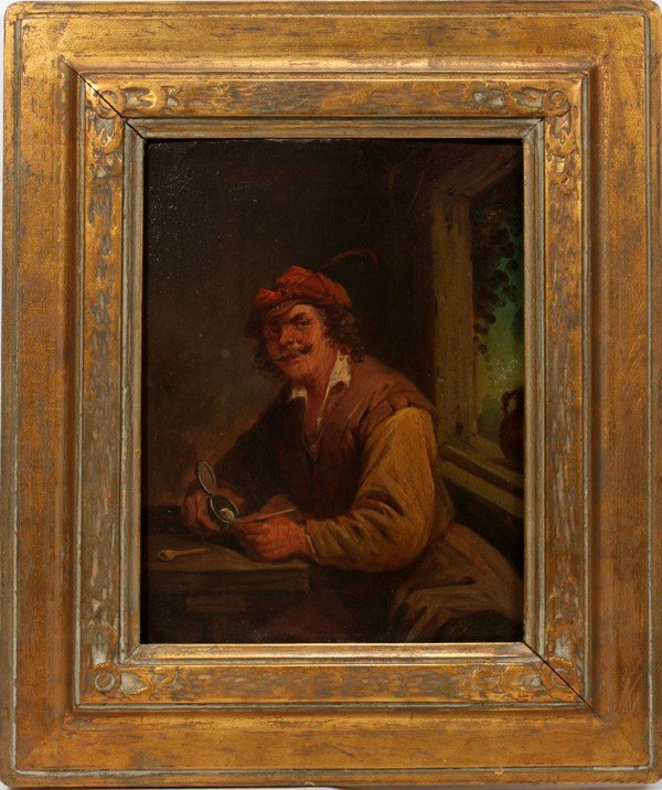 "092021: AFTER TENIERS OIL ON BOARD ""JEWELER IN RED CAP"""