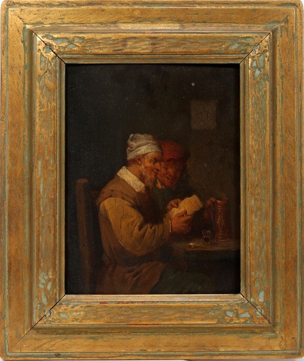 092022: AFTER DAVID TENIERS OIL/WOOD PANEL MEN READING