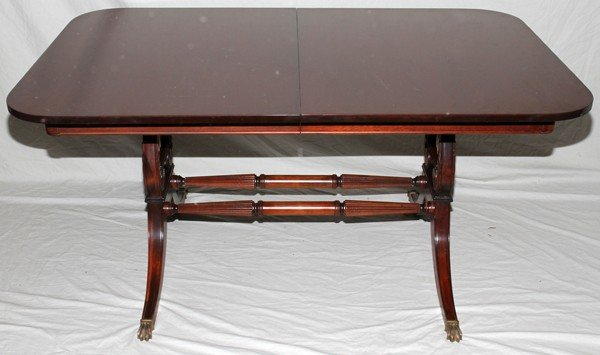 100019: ANTIQUE STYLE LYRE BASE DINING TABLE, MAHOGANY