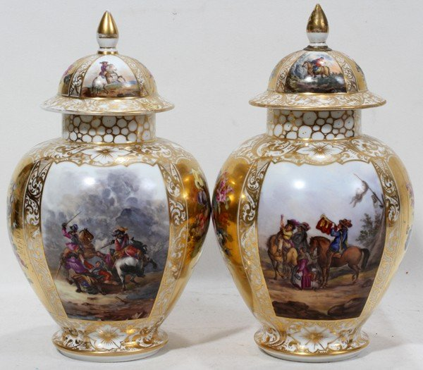 101001: AUGUSTUS REX PORCELAIN URNS WITH COVERS