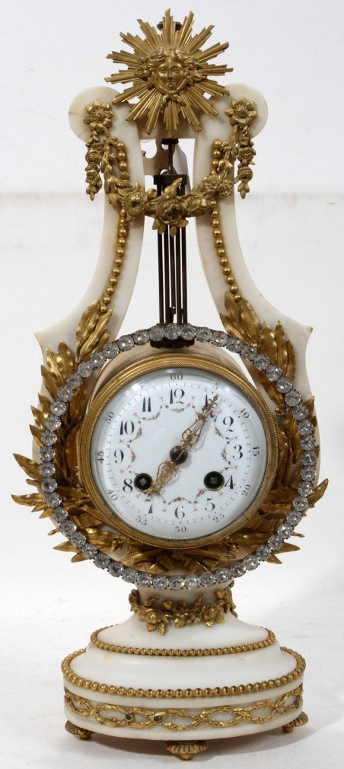 101004: FRENCH BRONZE-MOUNTED MARBLE MANTEL CLOCK,
