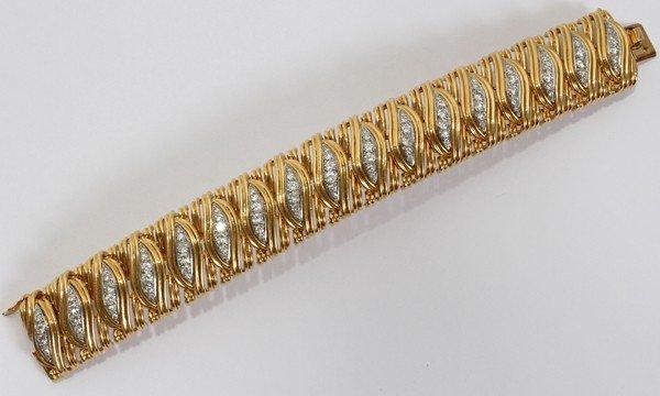 """101007: FRENCH 18KT GOLD & DIAMOND BRACELET, L 7"""""""